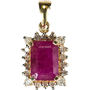 3.90ctw Genuine Ruby Diamond Pendant 14k Gold Emerald Cut Ruby Pendant