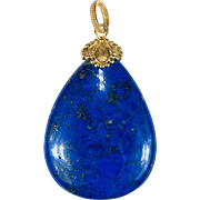 Huge Vintage 93ctw Natural Lapis Pendant 18k Gold Chinese Lapis Lazuli Pendant