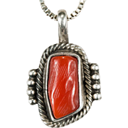 Navajo Running Bear Coral Necklace 925 Sterling Silver Native American Coral Necklace