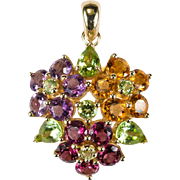 Citrine Amethyst Peridot Garnet 14k Gold Mixed Gemstone Flower Pendant