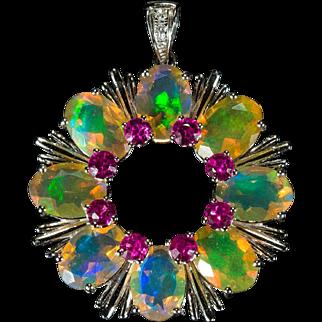 Natural Yellow Fire Opal Pendant 18k Gold Circle Of Life Opal Tourmaline Diamond Pendant