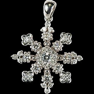 Diamond Snowflake Pendant 14k Gold Natural Diamond Pendant