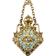 Old European Cut Diamond Enamel Perfume Bottle 14k Gold Poison Bottle Pendant Fob