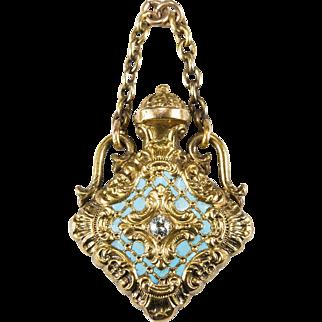 Old European Cut Diamond Enamel Perfume Bottle 14k Gold Poison Bottle Pendant Fob