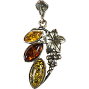 Natural Baltic Amber Grape Pendant 925 Sterling Silver Poland Amber Pendant