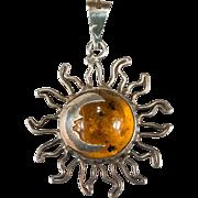 Natural Amber Sun Crescent Moon Pendant 925 Sterling Silver Filigree Sun Amber Pendant