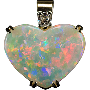Opal Heart Pendant Cushion Cut Diamond 14k Gold Heart Opal Pendant
