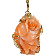Solitaire Carved Coral Rose Pendant 14k Gold Coral Pendant