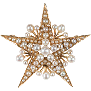 Victorian Pearl Star Pendant 14k Gold Seed Pearl Star Brooch