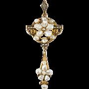 Victorian Pearl Lavalier 10k Gold Pendulum Pendant