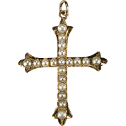 Classic Pea Pearl Cross 14k Gold Pearl Pendant