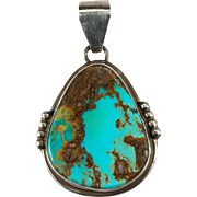 Native American Pilot Mountain Turquoise Pendant 925 Sterling Silver Hand Crafted Fred Begay