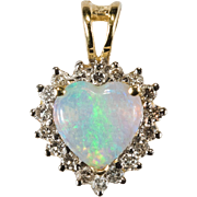 Natural Opal Heart Diamond Halo Pendant 14k Gold Opal Pendant
