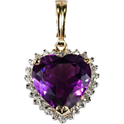 Natural Amethyst Heart Diamond Pendant 585 14k Gold Enhancer Pendant