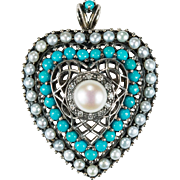 Natural Diamond Turquoise Cultured Pearl Heart 925 Sterling Silver Pendant Brooch