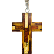 Natural Inlay Amber Cross 925 Sterling Silver Russian Amber Pendant