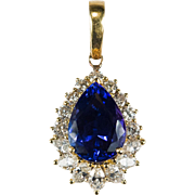 Exotic 8.75ctw Natural Tanzanite Diamond Pendant 18k Gold Tanzanite Pendant Enhancer