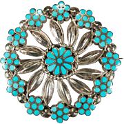 Dishta Zuni Turquoise Pendant Sterling Silver Inlay Natural Turquoise Brooch