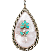 Turquoise Inlay Flower Pink MOP Sterling Silver Pendant