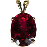 Natural Tourmaline Pendant 5.70ctw 14k Gold Solitaire Pink Red Tourmaline Pendant