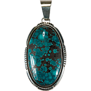Large Spiderweb Turquoise Pendant 925 Sterling Silver Genuine Turquoise Stone Pendant