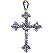 Tanzanite Diamond Cross Pendant 10k Gold Tanzanite Diamond Pendant