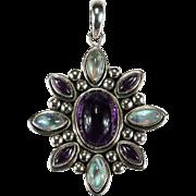 Natural Purple Amethyst Blue Moonstone 925 Sterling Silver Pendant Moonstone Pendant Amethyst Pendant