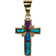 Black Opal Turquoise Sugalite Inlay Cross 14k Gold Opal Cross Turquoise Cross Pendant