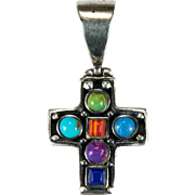 Turquoise Lapis Sugalite Banded Agate Sterling Silver Cross