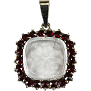 Reverse Hand Carved 4 Leaf Clover Rock Crystal Old Rose Cut Bohemian Garnet Sterling Silver Pendant