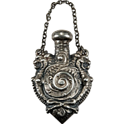 Antique Double Griffin Perfume Bottle Pendant Sterling Silver Repousse Griffin Pendant