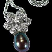 Tahitian South Sea Baroque Pearl Diamond Pendant 18k Gold Diamond Flower Pearl Pendant