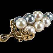 Grape Cluster Pearl Pendant 14k Gold Cultured Pearl Grapes Pendant