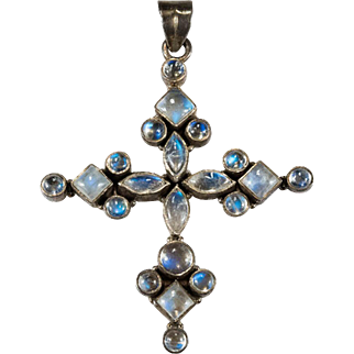Natural Blue Moonstone Cross 925 Sterling Silver Moonstone Pendant