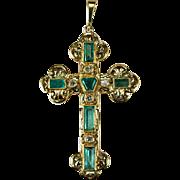 Emerald Diamond Cross 18k Gold Columbian Emerald Pendant Emerald Cross