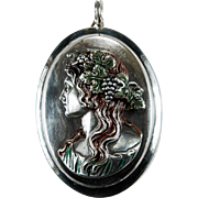 Rare Henryk Winograd Enamel Repousse High Relief Cameo 999 Fine Sterling Silver Greek God Of Wine