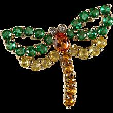 Genuine Topaz Garnet Diamond Dragonfly 14k Gold Mixed Gemstone Dragonfly Pendant
