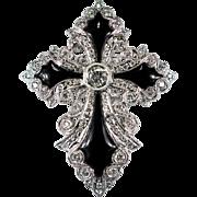Onyx Diamond Cross 2.07ctw 18k Gold Brooch Pendant Enhancer