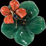 Natural Jade Coral Ceylon Sapphire Diamond Pendant 18k Gold Italian Designer Loffredo Coral Butterfly Jade Flower Brooch