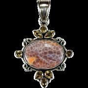 Yellow Topaz Agate Stone Pendant 925 Sterling Silver Genuine Jasper Topaz Pendant