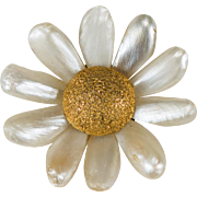 Antique Mississippi River Pearl Daisy Flower 14k Gold Natural Pearl Pendant