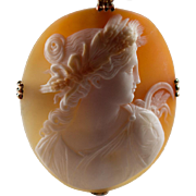 Demeter Greek Goddess Carved Cameo 14k Gold Pendant