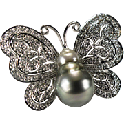 Diamond Tahitian Baroque Pearl Pendant 14k Gold Butterfly Pearl Diamond Brooch