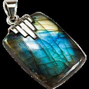 Natural Labradorite 925 Sterling Silver Pendant