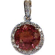 Pink Tourmaline Diamond Pendant 14k Gold 7.25ctw Diamond Halo Tourmaline Pendant