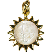 Day Night Carved Sun Moon Face Pendant 18k Gold Cats Eye Mother Of Pearl Sun Pendant