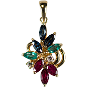 Sapphire Emerald Ruby Diamond Pendant 18k Gold 750 Mixed Gemstone Pendant