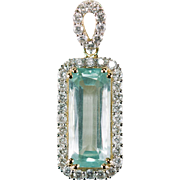 Emerald Cut Aquamarine Diamond Pendant 6.24ctw 14k Gold Aquamarine Beryl Pendant