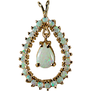 Natural Opal Pendant 14k Gold Pear Opal Drop Opal Halo Pendant