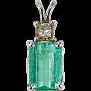 Emerald Cut Emerald Diamond Pendant 2.50ctw 14k Gold Champagne Princess Cut Diamond Emerald Pendant